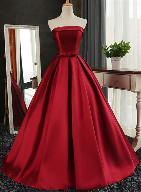Wine Red Satin Long Gown, Dark Red Prom Dresses, Prom